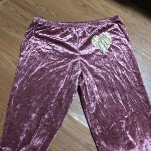 Velvet PJ pants with gold heart detail